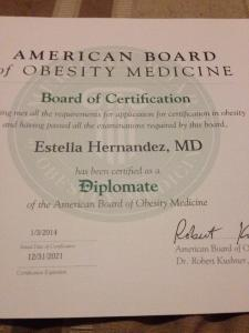 American Board Certified of Obesity Medicine